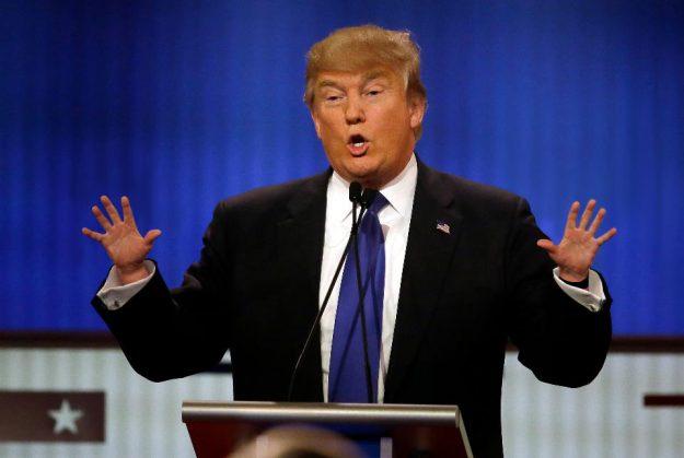 Trump's hands up